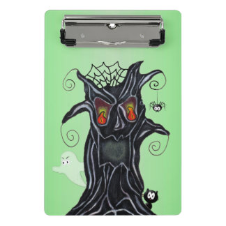 黒い木の恐い顔の幽霊の黒猫のくも ミニクリップボード
