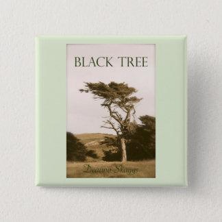 黒い木の正方形ボタン 5.1CM 正方形バッジ