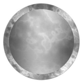 黒い木炭によって大理石模様をつけられるメラミンプレート ディナー皿