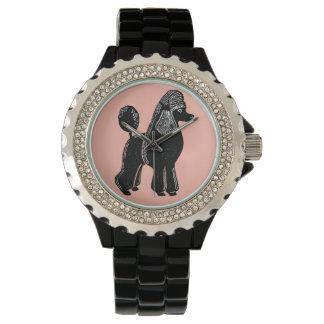 黒い標準プードルの女性の腕時計 腕時計