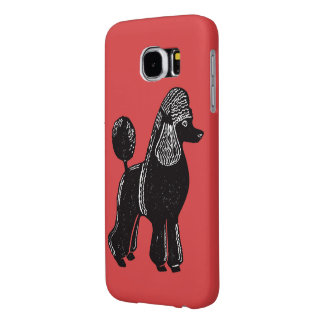 黒い標準プードルの赤いSamsungの銀河系S6の箱 Samsung Galaxy S6 ケース