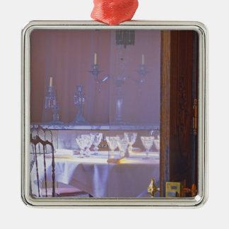 黒い水晶が付いている私用食堂 シルバーカラー正方形オーナメント