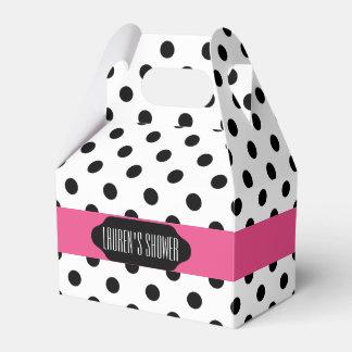 黒い水玉模様およびピンクのストライプでカスタムな好意箱 フェイバーボックス