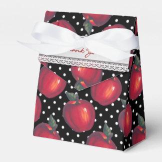 黒い水玉模様で白い赤いりんご フェイバーボックス