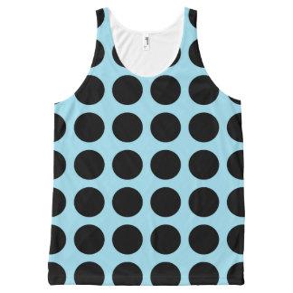 黒い水玉模様のパステル調の青 オールオーバープリントタンクトップ