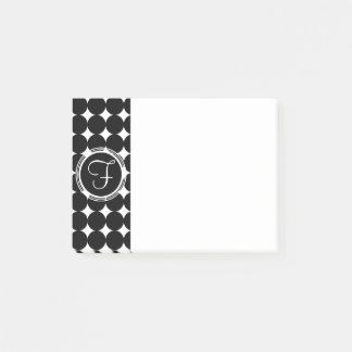 黒い水玉模様のモノグラム ポストイット