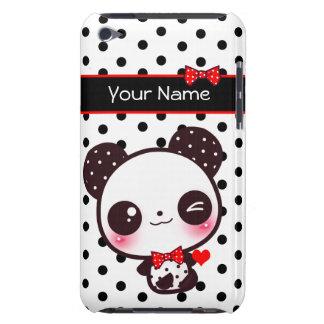 黒い水玉模様の名前入りなかわいいのパンダ Case-Mate iPod TOUCH ケース