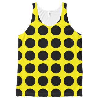 黒い水玉模様の黄色 オールオーバープリントタンクトップ