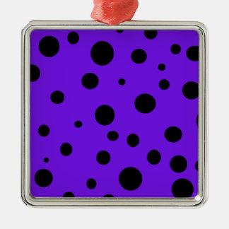 黒い水玉模様プロダクトとのすみれ色の紫色 メタルオーナメント