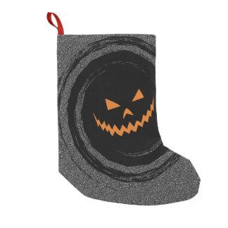 黒い渦巻のハロウィン白熱ジャックO'Lantern スモールクリスマスストッキング