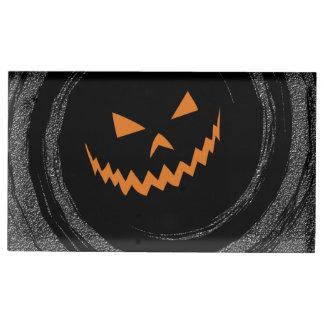 黒い渦巻のハロウィン白熱ジャックO'Lantern テーブルカードホルダー