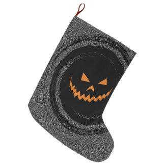 黒い渦巻のハロウィン白熱ジャックO'Lantern ラージクリスマスストッキング