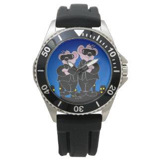 黒い漫画のステンレス鋼の黒Rubbeのくま 腕時計