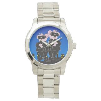 黒い漫画の特大銀製のブレスレットのくま 腕時計