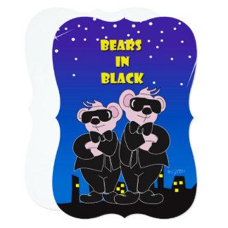 黒い漫画5x7の招待状ブラケットのくま カード