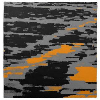 黒い灰色のオレンジの抽象芸術の波のレトロのナプキン ナプキンクロス