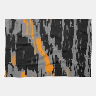 黒い灰色のオレンジ抽象美術のレトロの台所タオル キッチンタオル