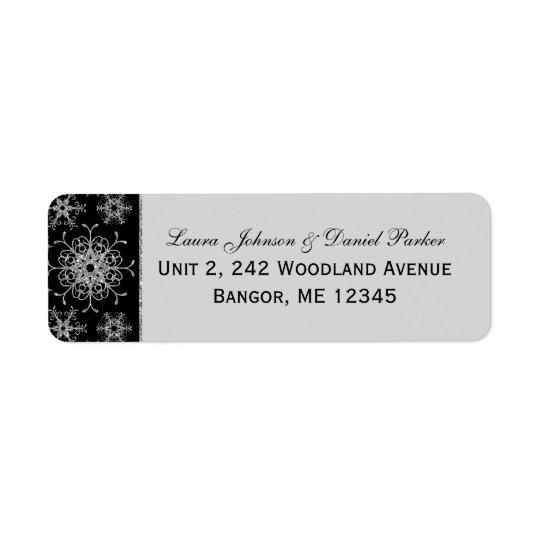 黒い灰色のグリッターの雪片の差出人住所ラベル 返信用宛名ラベル