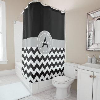 黒い灰色のシェブロン シャワーカーテン