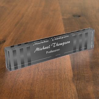 黒い灰色のストライプのプロフェッショナルの机用ネームプレート デスクネームプレート