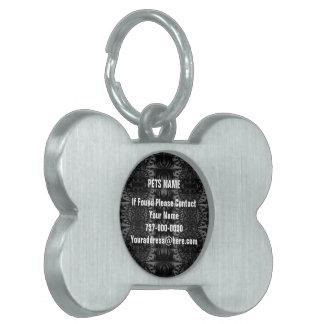 黒い灰色のフラクタルの万華鏡のように千変万化するパターン ペットネームタグ