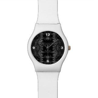 黒い灰色のフラクタルの万華鏡のように千変万化するパターン 腕時計