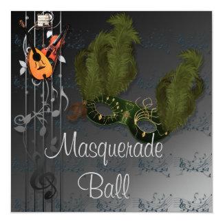 黒い灰色の仮面舞踏会Invitatioの緑のマスク カード