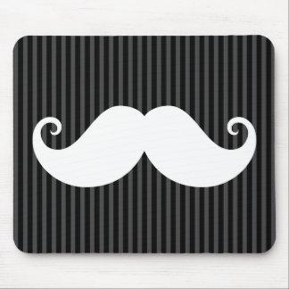 黒い灰色の縞模様のおもしろいで白い髭 マウスパッド