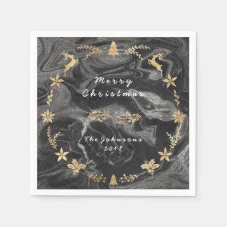 黒い灰色の銀製の大理石の金ゴールドのクリスマス スタンダードカクテルナプキン