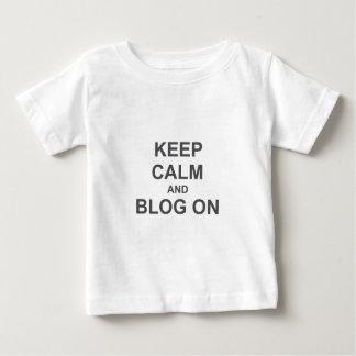 黒い灰色の青の平静そしてブログを保って下さい ベビーTシャツ