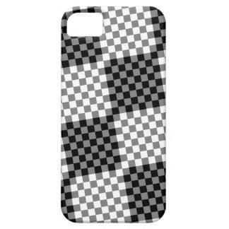黒い灰色白のタイルのチェック模様のチェス盤パターン iPhone SE/5/5s ケース