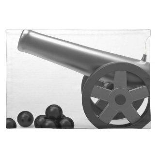 黒い爆弾が付いている大砲 ランチョンマット