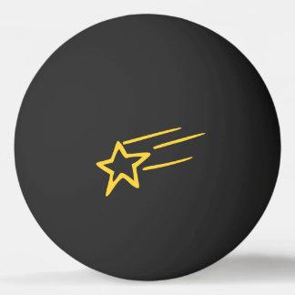黒い球の黄色い流星の輪郭 ピンポン玉