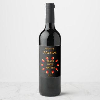 黒い生命問題の赤および金ゴールドのワインのラベル ワインラベル