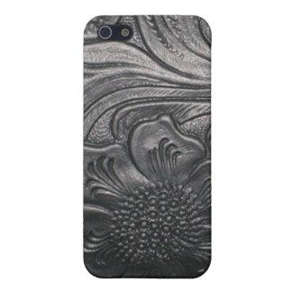黒い用具のレザールックのプリントのSpeckの場合のiPhone 4 iPhone 5 ケース