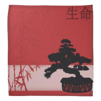 """黒い盆栽の赤いタケ""""生命"""" バンダナ"""