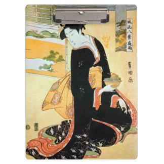 黒い着物の女、黒い着物、Toyokuniの浮世絵の豊国の女性 クリップボード