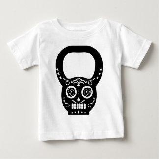 黒い砂糖のスカルのやかん鐘 ベビーTシャツ