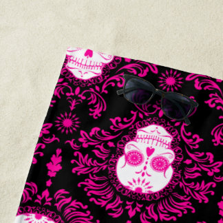 黒い砂糖のスカルのビーチタオルの死んだダマスク織のピンク ビーチタオル