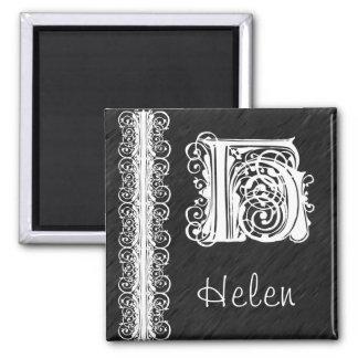 黒い磁石のヘレンHのモノグラムの白いレース マグネット