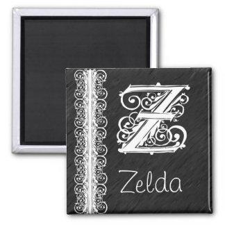 黒い磁石のZelda Zのモノグラムの白いレース 冷蔵庫用マグネット