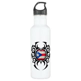黒い種族の割れたプエルトリコの旗 ウォーターボトル