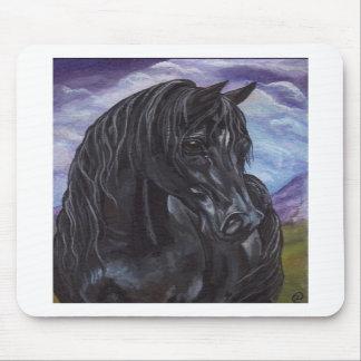黒い種馬の馬のマウスパッド マウスパッド