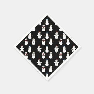 黒い紙ナプキンの白くかわいい雪だるまのクリスマス スタンダードカクテルナプキン