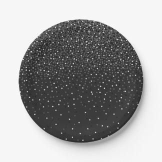 黒い紙吹雪の紙皿 ペーパープレート