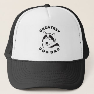 黒い素晴らしい犬のパパ文字及び犬の絵 キャップ