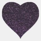 黒い紫色のきらめくグリッター ハートシール