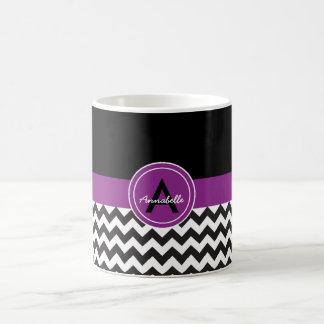 黒い紫色のシェブロン コーヒーマグカップ