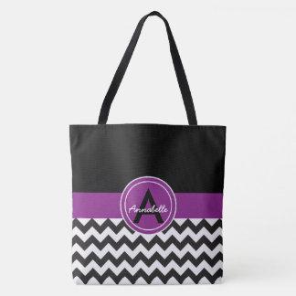 黒い紫色のシェブロン トートバッグ