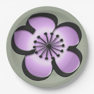 、黒い紫色、世紀半ばのモダンな花-灰色 ペーパープレート